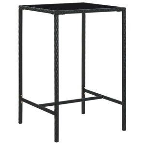 vidaXL fekete polyrattan és üveg kerti bárasztal 70 x 70 x 110 cm kép