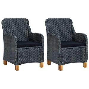vidaXL 2 db sötétszürke polyrattan kerti szék párnával kép
