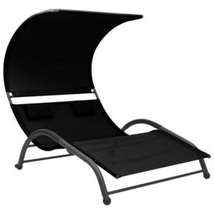 vidaXL fekete kétszemélyes textilén napozóágy napellenzővel kép