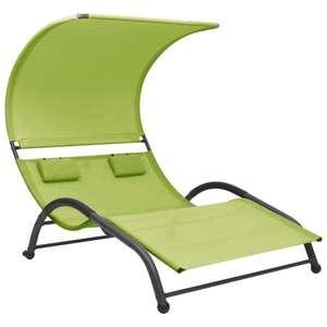vidaXL zöld kétszemélyes textilén napozóágy napellenzővel kép