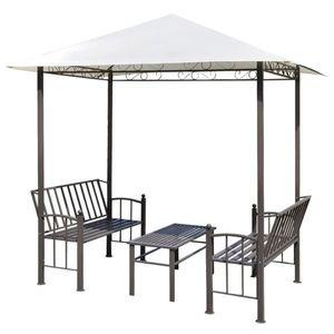 vidaXL kerti pavilon asztallal és padokkal 2, 5 x 1, 5 x 2, 4 m kép