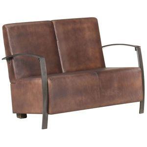vidaXL antikolt barna valódi bőr kétszemélyes kanapé kép