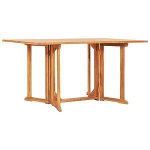 vidaXL tömör tíkfa lehajtható lapú kerti asztal 150 x 90 x 75 cm kép