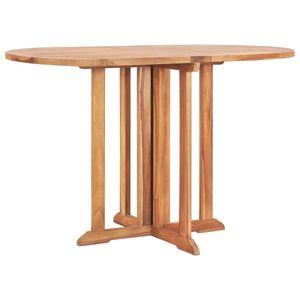 vidaXL tömör tíkfa lehajtható lapú kerti asztal 120 x 70 x 75 cm kép