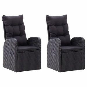 vidaXL 2 db fekete dönthető polyrattan kerti szék párnával kép