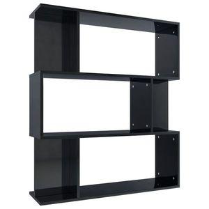vidaXL magasfényű fekete könyvszekrény/térelválasztó 80x24x96 cm kép