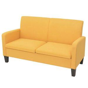 vidaXL 2 személyes sárga kanapé 135 x 65 x 76 cm kép