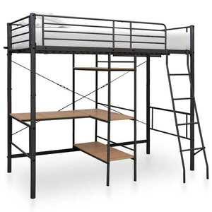 vidaXL fekete fém emeletes ágykeret asztallal 90 x 200 cm kép