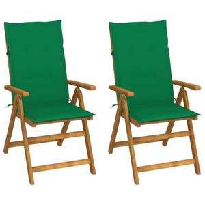 vidaXL 2 db dönthető tömör akácfa kerti szék párnákkal kép