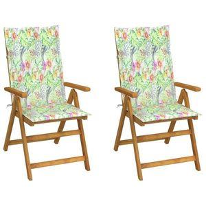 vidaXL 2 db dönthető tömör akácfa kerti szék párnával kép