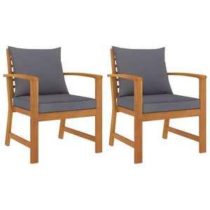 vidaXL 2 db tömör akácfa kerti szék sötétszürke párnával kép