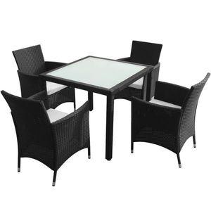 vidaXL 5-részes fekete polyrattan kültéri étkezőszett párnákkal kép